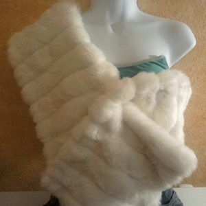 White Faux Mink Fur and Olive Green Sequin Wrap